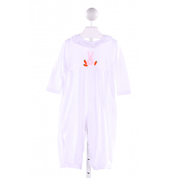 SMOCKINGBIRD  WHITE   EMBROIDERED KNIT ROMPER WITH RUFFLE