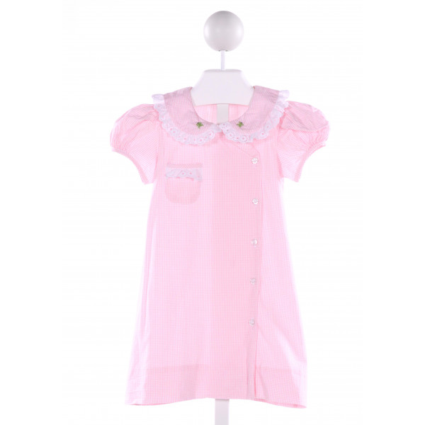 BENOIT & MATISSE  PINK  WINDOWPANE EMBROIDERED DRESS WITH EYELET TRIM