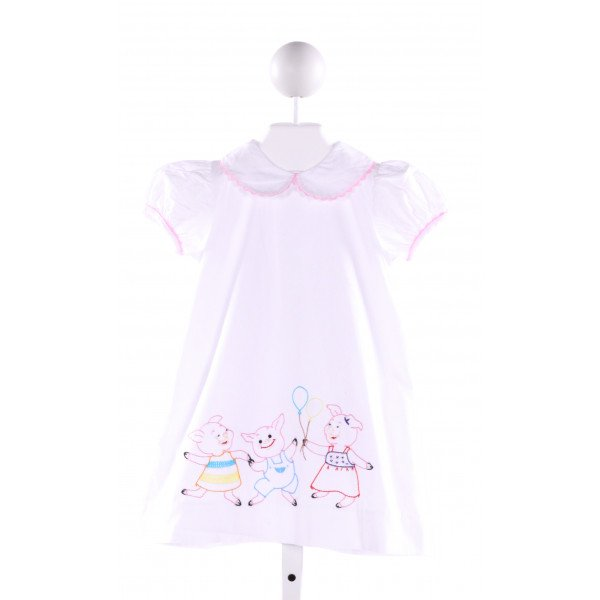 LULLABY SET  WHITE   EMBROIDERED DRESS WITH RIC RAC