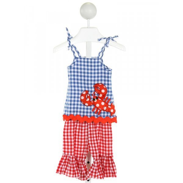 MUD PIE  BLUE  GINGHAM EMBROIDERED 2-PIECE OUTFIT WITH RIC RAC