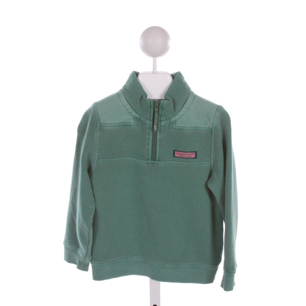 VINEYARD VINES  GREEN COTTON   QUARTER ZIP PULLOVER