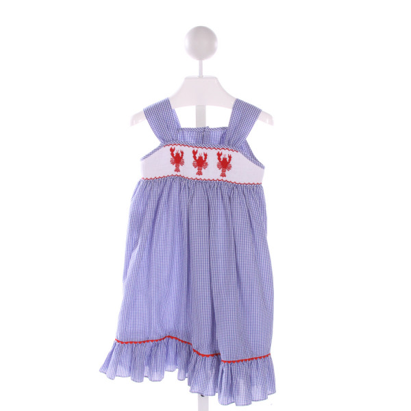 MOM & ME  BLUE  GINGHAM SMOCKED DRESS WITH RIC RAC