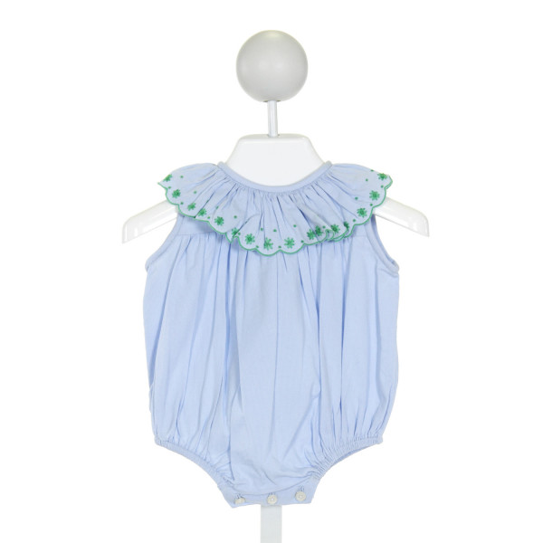 THE PROPER PEONY  BLUE   EMBROIDERED BUBBLE WITH RUFFLE