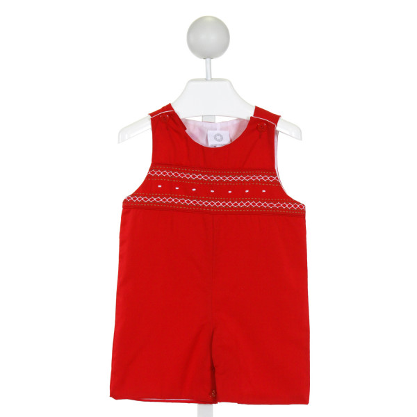THE PROPER PEONY  RED   EMBROIDERED JOHN JOHN/ SHORTALL