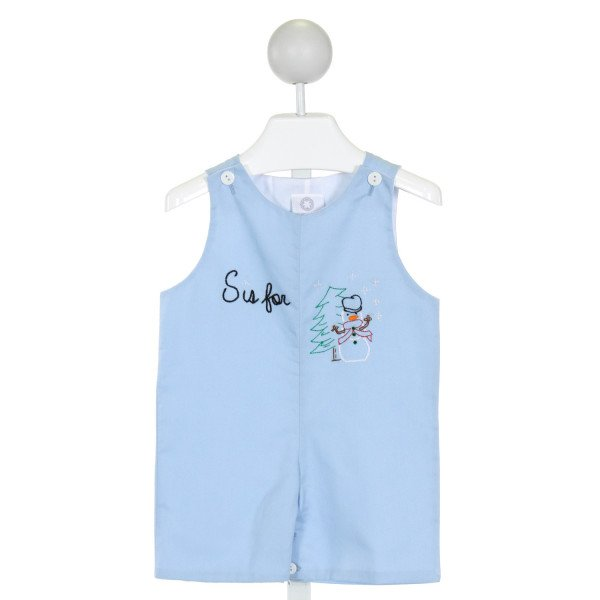 THE PROPER PEONY  LT BLUE   EMBROIDERED JOHN JOHN/ SHORTALL