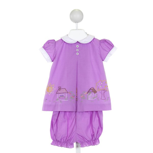 THE PROPER PEONY  PURPLE   EMBROIDERED 2-PIECE OUTFIT WITH RUFFLE