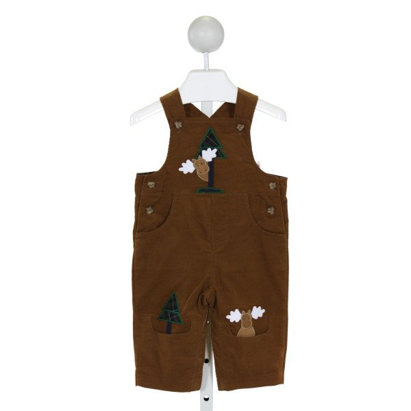 FLORENCE EISEMAN  BROWN CORDUROY  EMBROIDERED LONGALL/ROMPER