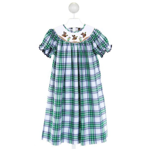 BANANA SPLIT  GREEN  PLAID SMOCKED DRESS WITH RIC RAC