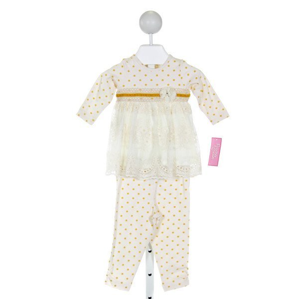PEACHES 'N CREAM  IVORY  POLKA DOT EMBROIDERED 2-PIECE OUTFIT