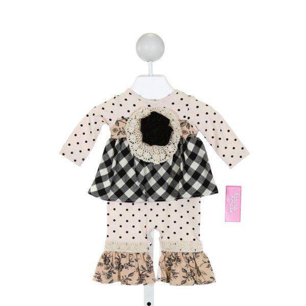 PEACHES 'N CREAM  IVORY  POLKA DOT APPLIQUED KNIT ROMPER WITH RUFFLE
