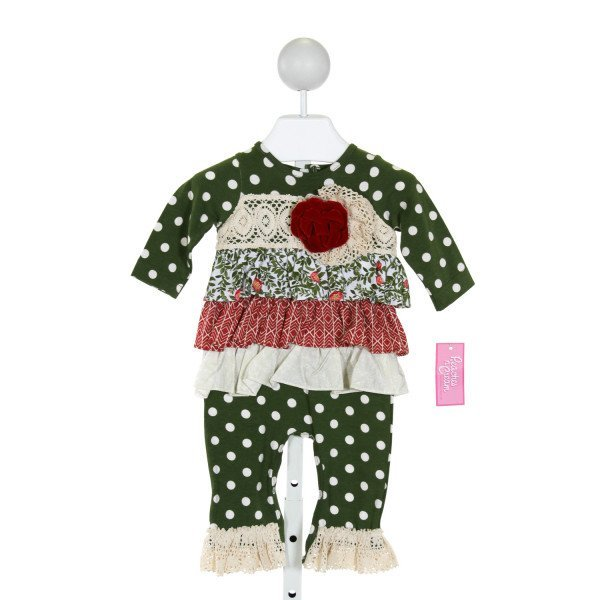 PEACHES 'N CREAM  GREEN  POLKA DOT APPLIQUED KNIT ROMPER WITH RUFFLE