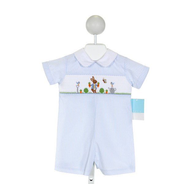 ANAVINI  LT BLUE  STRIPED SMOCKED JOHN JOHN/ SHORTALL