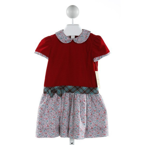 MARCO & LIZZY  RED CORDUROY FLORAL  DRESS
