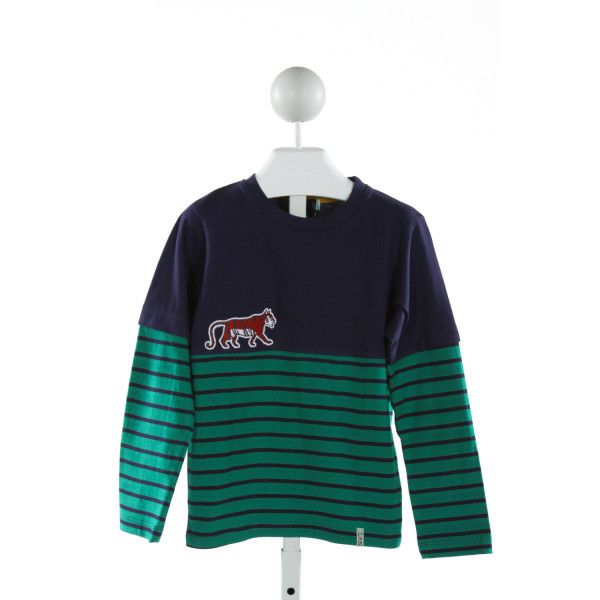 LILLY + SID  NAVY  STRIPED APPLIQUED KNIT LS SHIRT