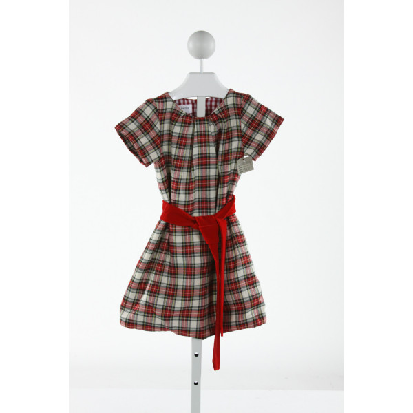 PETIT PEONY  RED  PLAID  DRESS