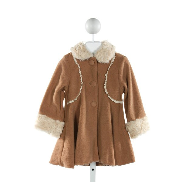 PEACHES 'N CREAM  BROWN    DRESSY OUTERWEAR WITH RUFFLE
