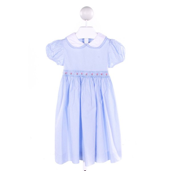 FANTAISIE KIDS  LT BLUE   SMOCKED DRESS WITH RUFFLE