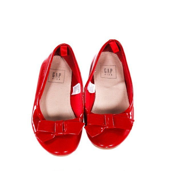GAP RED SHOES WITH BOWS *SIZE 12, VGU - VERY MINOR SCUFFING