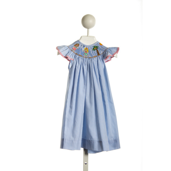 REMEMBER NGUYEN BLUE STRIPED SMOCKED HULA DANCERS DRESS