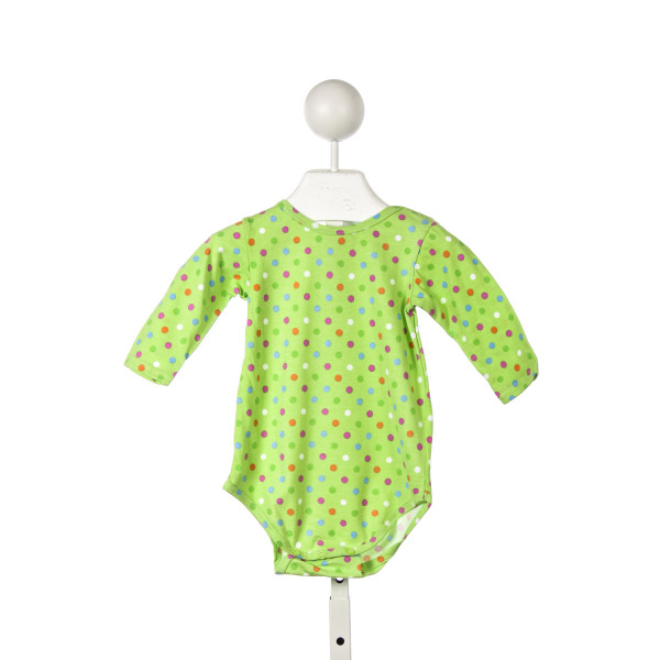 CHEZ AMI LIME GREEN POLKA DOT KNIT ONESIE