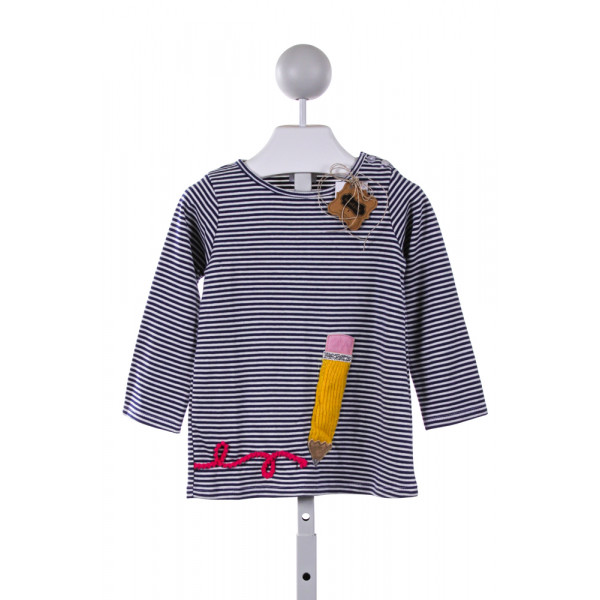 MUD PIE  MULTI-COLOR  STRIPED EMBROIDERED KNIT LS SHIRT