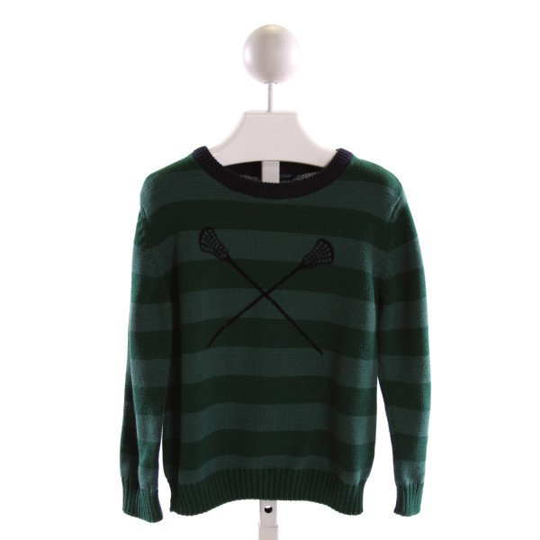 SOPHIE AND SAM  GREEN  STRIPED EMBROIDERED SWEATER