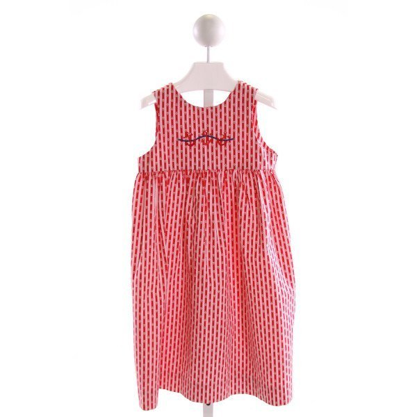 JUST DUCKY  RED  STRIPED EMBROIDERED DRESS