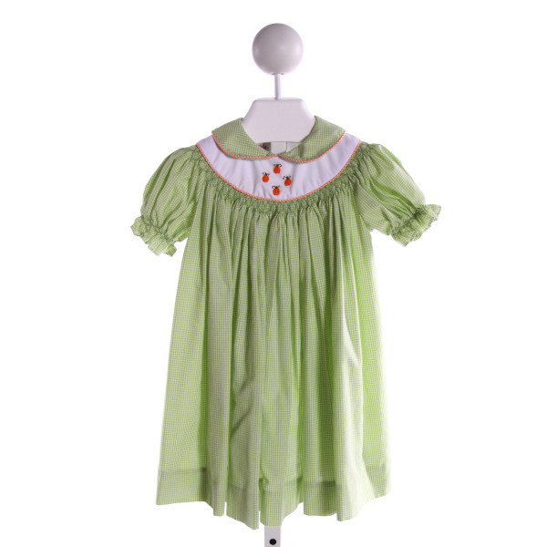 POSH PICKLE  LT GREEN  GINGHAM SMOCKED DRESS WITH RUFFLE