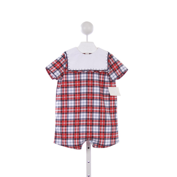 SOPHIE & LUCAS BLUE AND RED PLAID SHORTALL WITH NAVY EMBROIDERED COLLAR