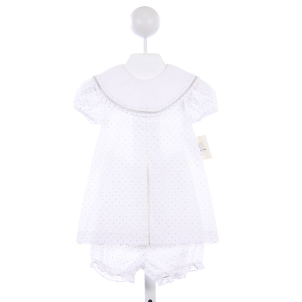 SOPHIE & LUCAS WHITE AND SILVER TINY DOTS BLOOMER SET WITH EMBROIDERED COLLAR