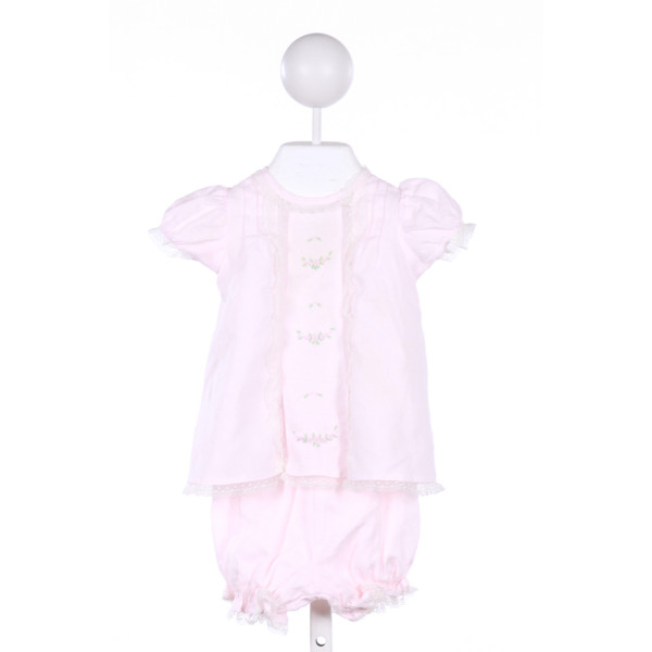 REMEMBER NGUYEN  PINK LINEN  EMBROIDERED 2-PIECE OUTFIT WITH LACE TRIM