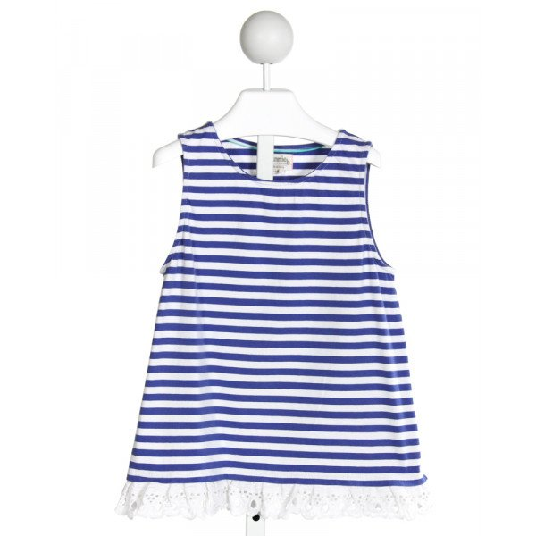 JOHNNIE-B  BLUE  STRIPED  KNIT SS SHIRT WITH EYELET TRIM