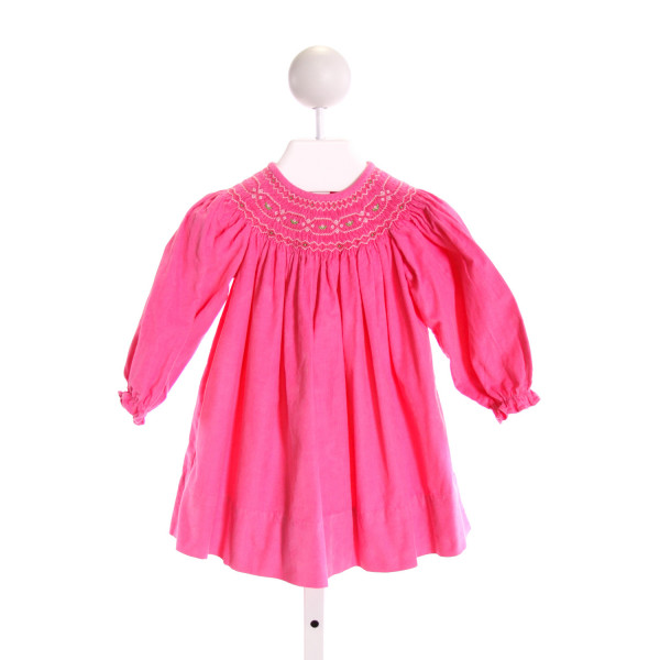 EVERYDAY HEIRLOOM  HOT PINK CORDUROY  SMOCKED DRESS WITH RUFFLE