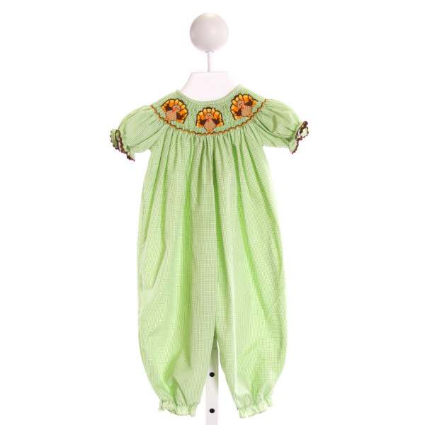 EVERYDAY HEIRLOOM  LT GREEN  GINGHAM SMOCKED ROMPER WITH RIC RAC