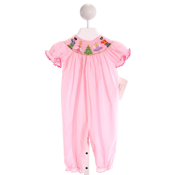 EVERYDAY HEIRLOOM  LT PINK  MICROCHECK SMOCKED ROMPER WITH RIC RAC