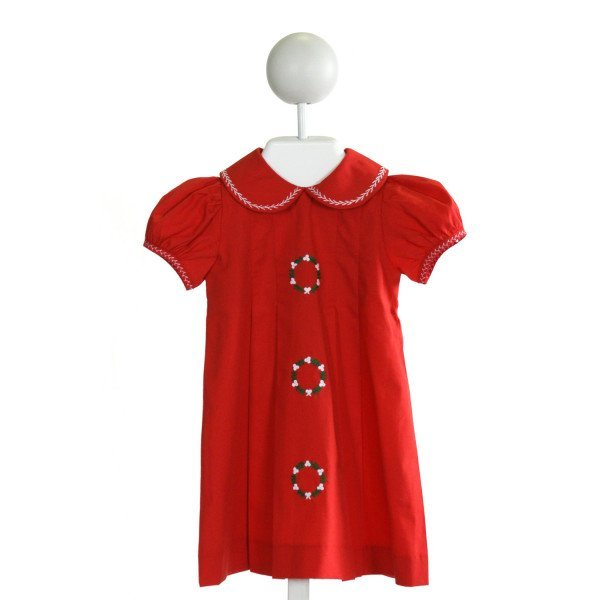 LOVE ME  RED   EMBROIDERED DRESS