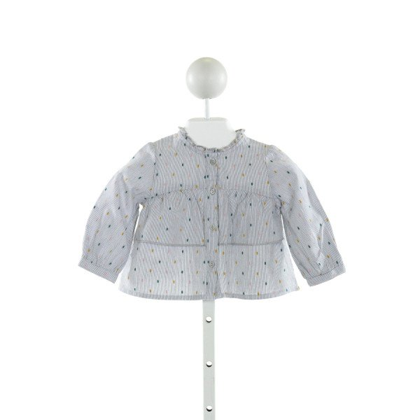 ZARA  GRAY  STRIPED EMBROIDERED CLOTH LS SHIRT