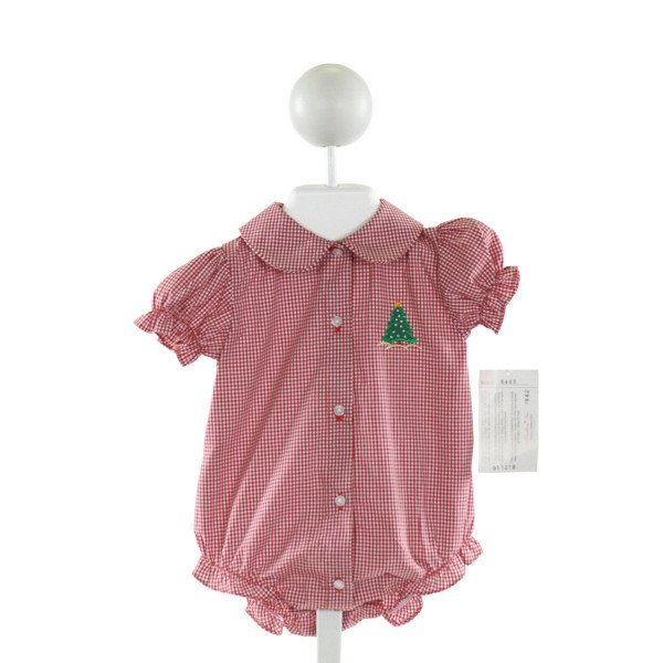 ROSALINA  RED  GINGHAM EMBROIDERED BUBBLE WITH RUFFLE