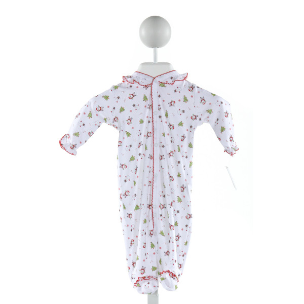 LINEY LU  WHITE  PRINT EMBROIDERED LAYETTE WITH RUFFLE