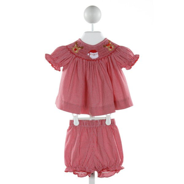 CLASSIC WHIMSY  RED  GINGHAM SMOCKED 2-PIECE OUTFIT WITH PICOT STITCHING