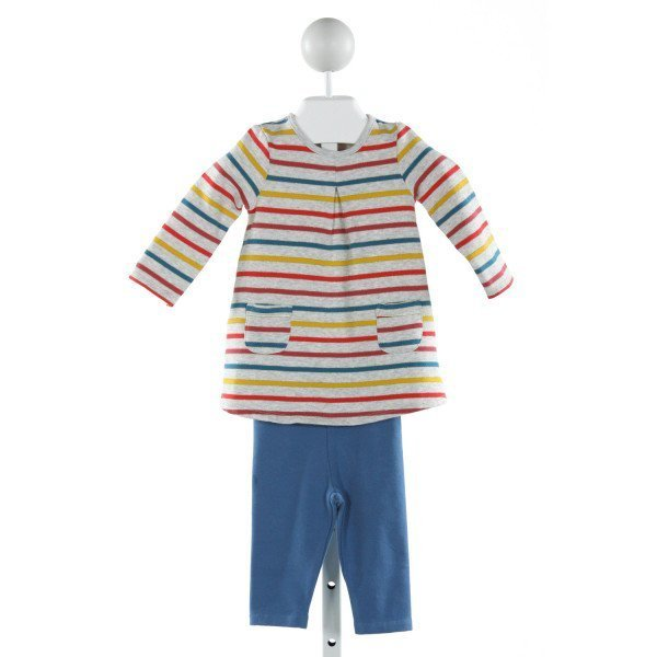BABY BODEN  GRAY  STRIPED  2-PIECE OUTFIT