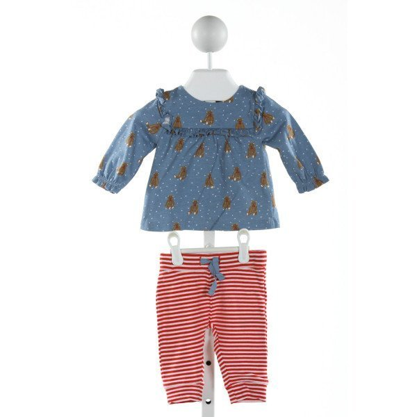 BABY BODEN  BLUE  POLKA DOT PRINTED DESIGN 2-PIECE OUTFIT WITH RUFFLE