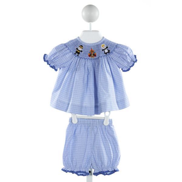 CLASSIC WHIMSY  LT BLUE  PLAID SMOCKED 2-PIECE OUTFIT WITH RUFFLE