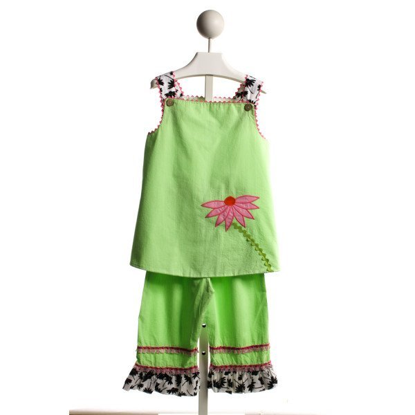 LA JENNS GREEN FLOWER APPLIQUE PANT SET