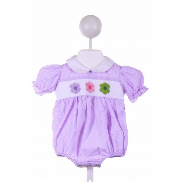 COLLECTION BEBE  PURPLE  POLKA DOT SMOCKED BUBBLE