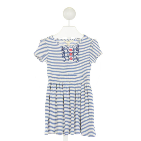MATILDA JANE  BLUE  STRIPED  KNIT DRESS WITH RUFFLE