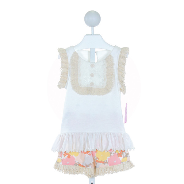 PEACHES 'N CREAM  IVORY   EMBROIDERED 2-PIECE OUTFIT WITH RUFFLE