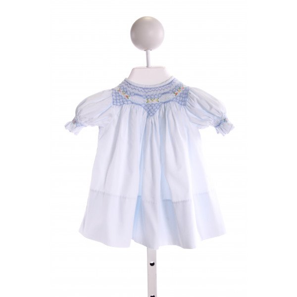SWEET ANGELA  LT BLUE   SMOCKED DRESS WITH RUFFLE