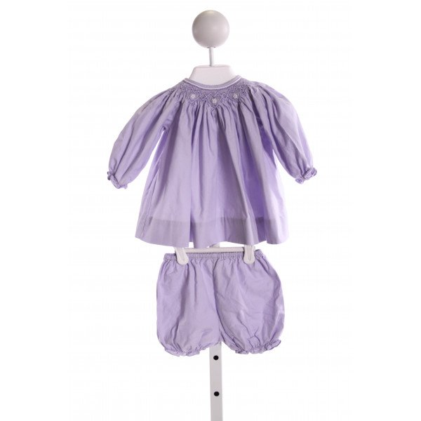 PETIT AMI  PURPLE   SMOCKED 2-PIECE OUTFIT WITH RUFFLE