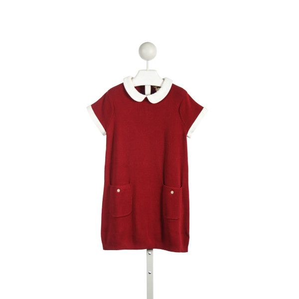 OLIVE JUICE RED KNIT DRESS WITH PETER PAN COLLAR